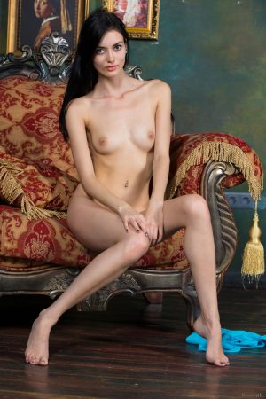 Very skinny long haired Alma drop her dress and spreads her thin long legs