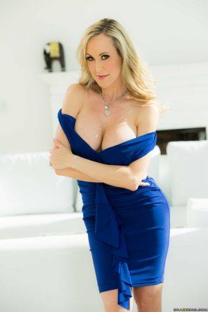Hot blonde MILF pornstar Brandi Love slide off tight dress to vaunt big tits