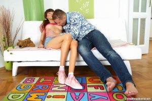 Brunette teen Adrianne gets roughly pounded and creampied by an older dude