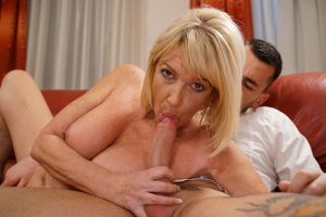 Hot blonde granny Amy gets her old pussy serviced by a young throbbing cock