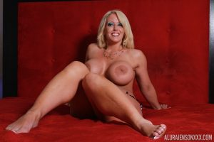 Hot busty Alura Jenson reveals her enormous sexy big tits & flaunts naked feet