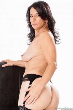 Mature wife Melissa Monet in stockings stripping to bare hot ass & tits