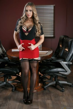 Hot secretary in nylons Nicole Aniston teasing with her fine ass in the office