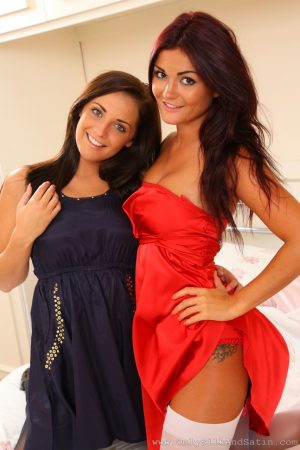 British brunettes Daisy Watts and India Reynolds strip off their satin dresses