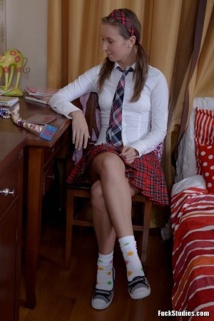 Lovely schoolgirl Louise gets her pussy fucked and creampied after studying