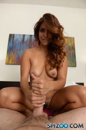 Alluring Colombian brunette flaunts big ass while peeling & gives POV handjob