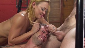 Mature femdom Dee Williams pegs her slave as she gets fucked from behind
