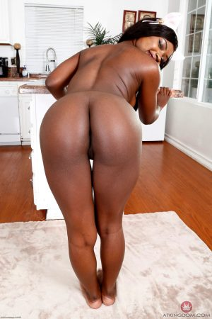 Hot ebony bunny Noemie Bilas spreads her black pussy to show its pink interior