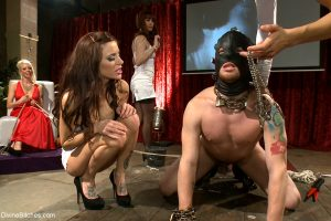 Hot femdoms discipline, torture and peg their handsome male slaves