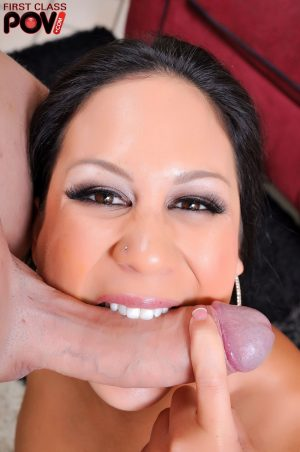 Asian MILF with fake tits Kayme Kai sucks prick and gets cum on her nose