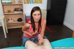 Barely legal brunette Rilynn Rae gets cum blasted after sucking a dick in POV