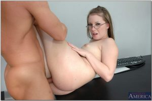 Naughty secretary Christie Lee rides a big rod in hot reverse cowgirl at work