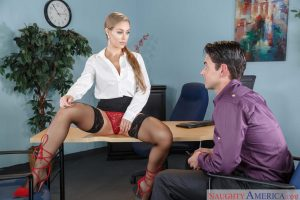 Gorgeous babe in stockings Nicole Aniston gets rammed at her office