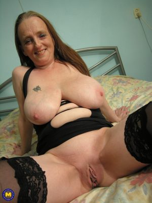Slutty granny Anabel unleashes her huge natural tits & toys her mature beaver