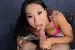 Petite coed Asa Akira takes dick in her ass after sucking fat knob at work