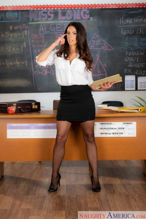 Naughty teacher in stockings Eva Long does a hot striptease in class