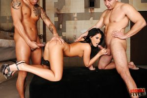 Fervent babe with tiny tits Madison Parker got banged by two cocks