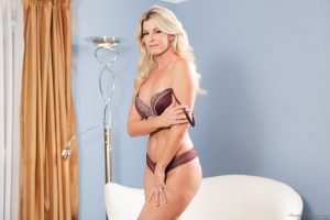 Leggy blonde India Summer gets on top during sex in ankle strap heels