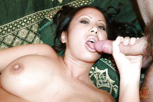 Curvy asian lady has some interracial anal fun with two hung guys
