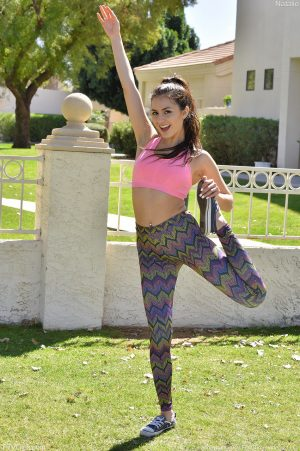 Sporty babe Natalie flashing perfect tiny tits & her hot ass in her yoga pants