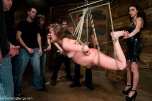Kinky Princess Donna Dolore gets abused & fucked while hanging from a ceiling