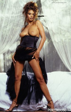 Brunette model in a dress Tera Patrick shows her big tits and rubs her pussy