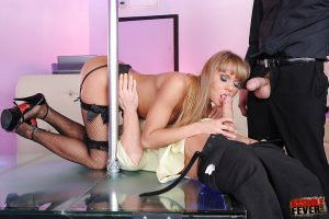 Hot chic in stockings gives blowjobs and show hardcore anal groupsex
