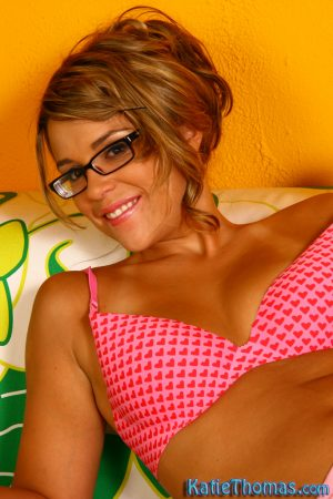 Fun loving Katie Thomas wears glasses to suck a BBC & ride it cowgirl style
