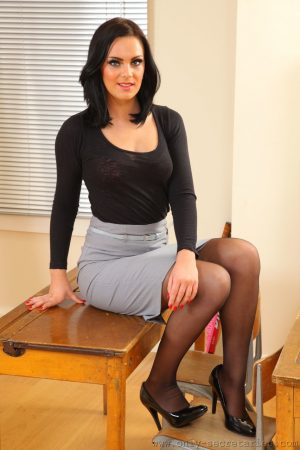 Horny black haired mom Abbie shows off her naturals in transparent nylons 1