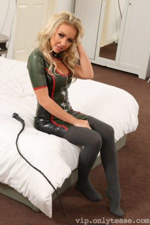 Gorgeous mistress in stockings Bethany M unveils her juicy natural tits