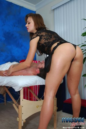 18 year old massage worker parks her snatch on top a client's dick