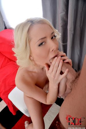 Blonde beauty licks balls while giving bj and handjob for cum in mouth