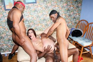 Trashy white chick Cici Rhodes letting 3 black men fuck all 3 of her holes