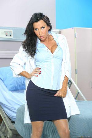Mind-boggling brunette nurse Lezley Zen waits for patient with hard dick