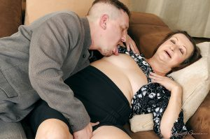 Fatty granny with small tits Eve Tickler gets her hairy cunt drilled