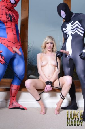 Tied up blonde Jessica Jensen gets fucked & facialed in a Marvel threesome