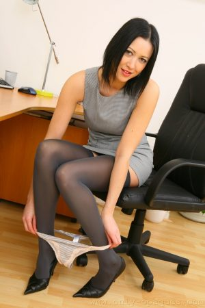 Naughty boss lady removes sexy dress and bares her juicy natural tits at work