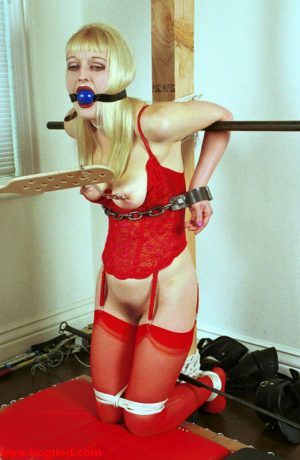 Blonde babe with a big ass Peanut gets tied up and abused in lingerie