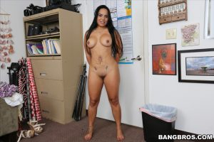 American with fake tits Sofia Char strips and shows her fat ass