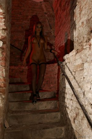 Irresistible Hungarian Aleska Diamond shows her sexy ass on the dungeon stairs