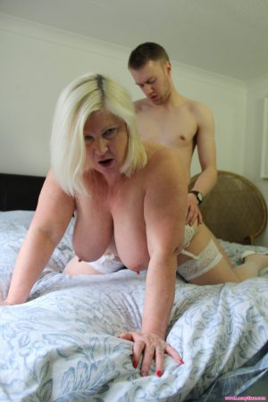 British blonde granny Lacey Starr lets a stud cum on her face after good sex