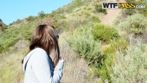 Amateur girl Brandy pull her guy's dick out during a hiking trip