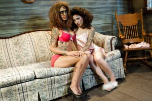Amateur tattoed Lesbians playing zombie roles in the cosplay scene