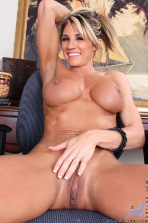Big titted MILF Lexus Smith gets naked to spread & tease with banana & ruler
