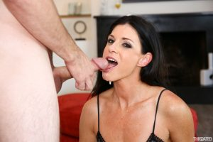 Tall brunette in black lingerie India Summer blows a dick and gets facialized