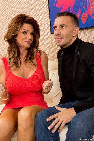 Big breasted mature brunette Deauxma blows and dominates massive cock