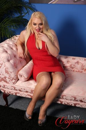 Stunning blonde amateur Steph Lockhart flashes her panties in a solo