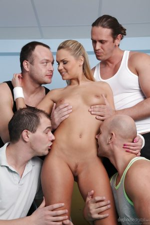 Chippy blonde gets involved into fervent gangbang with horny guys