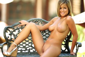 Remarkable blonde model showing her hot ass and nice tits in outdoor solo 1