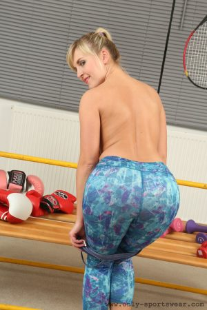 Sexy Czech blonde with perky tits Cikita exercising and stripping